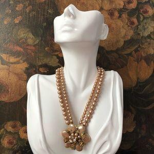 Vintage Pink Pearl Rhinestone Flower Necklace